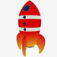 3d cartoon space rocket