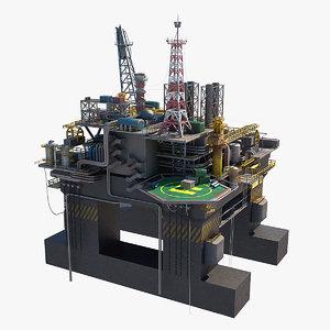 oil rig platform p-51 3d model
