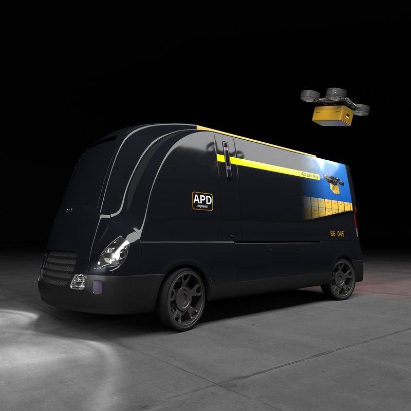 3ds max concept autonomous parcel delivery