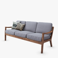 modern danish square 3 seater 3d model