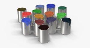 3d paint cans model
