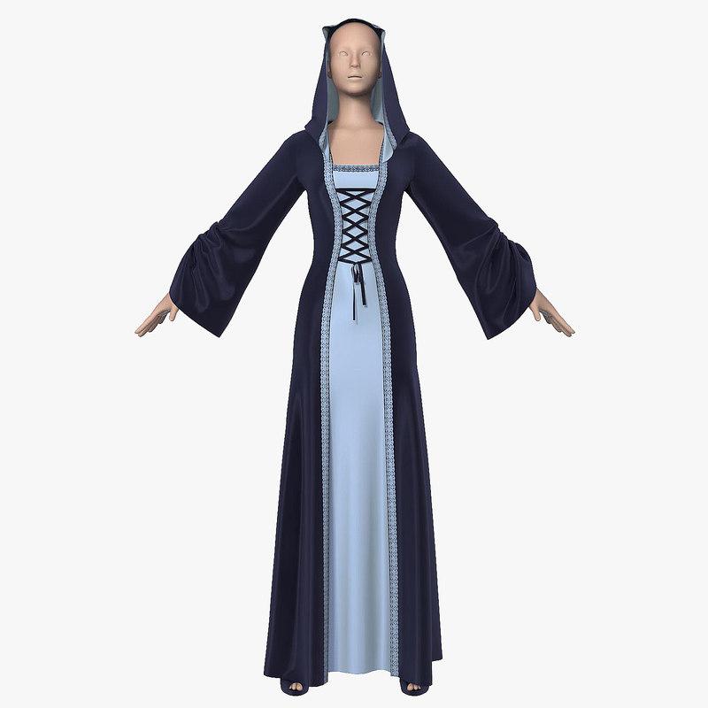 3d model dress hood female mannequin