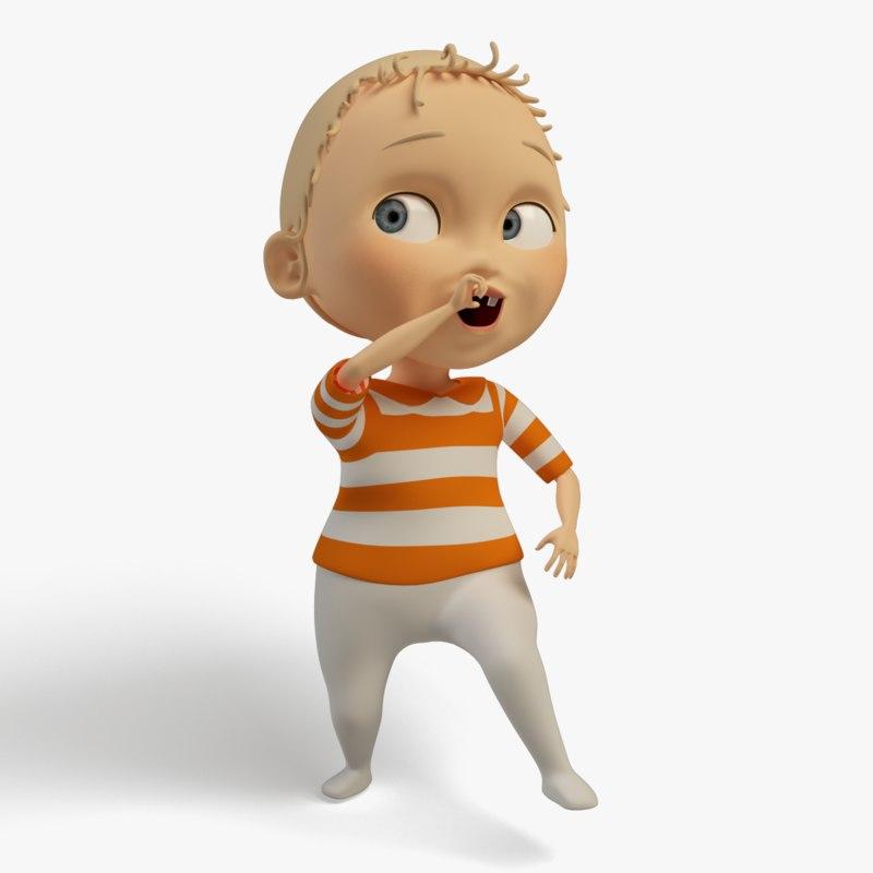 Cartoon Characters 3d Model Download : Cartoon character baby d max