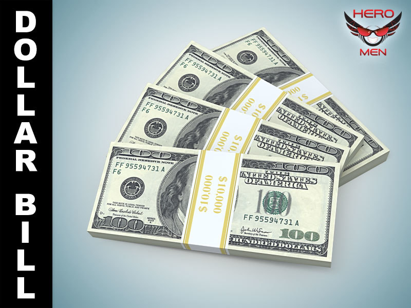 render dollar bill banknote 3ds