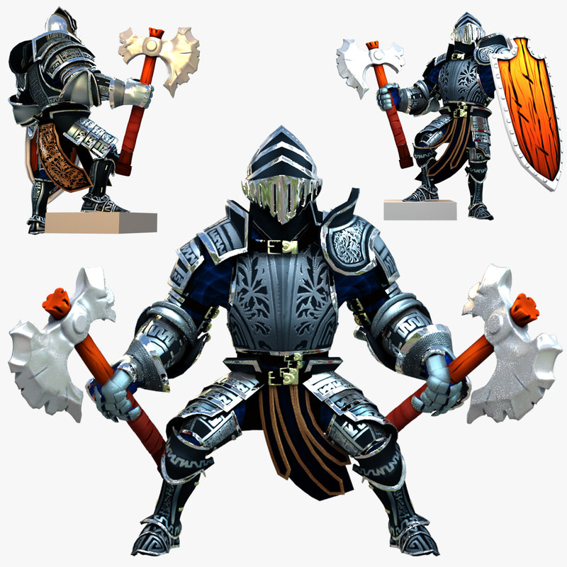 3d rigged knight series model