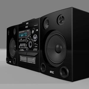 3d model stereo radio cd