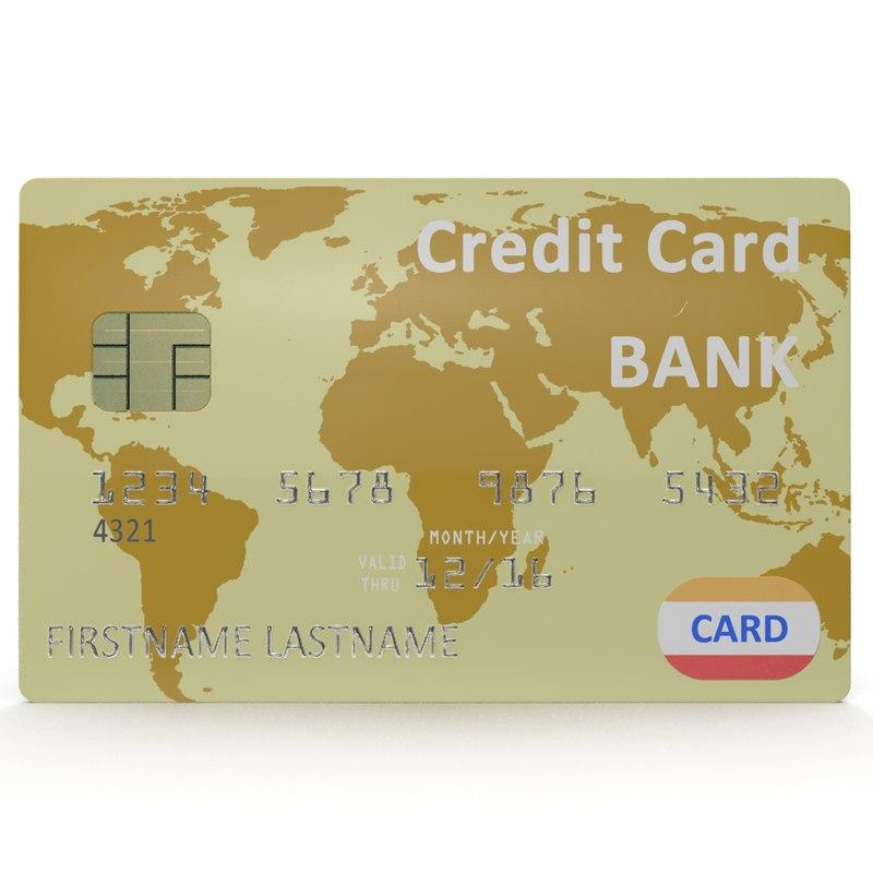 3d gold credit card modeled model