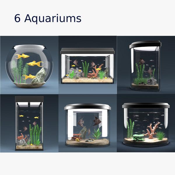 6 aquariums equipped 3d model