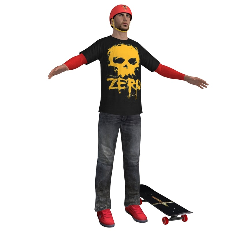 3d model skater rigging