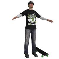 skater skateboard ready 3d max