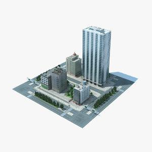 city block scene cityscape max