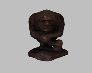 3d model wooden thinker