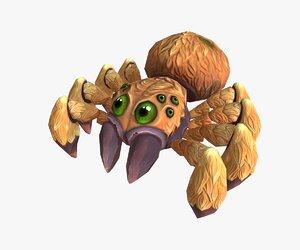 low-poly cartoon spider obj