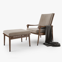 Giorgetti Denny Armchair and Stool