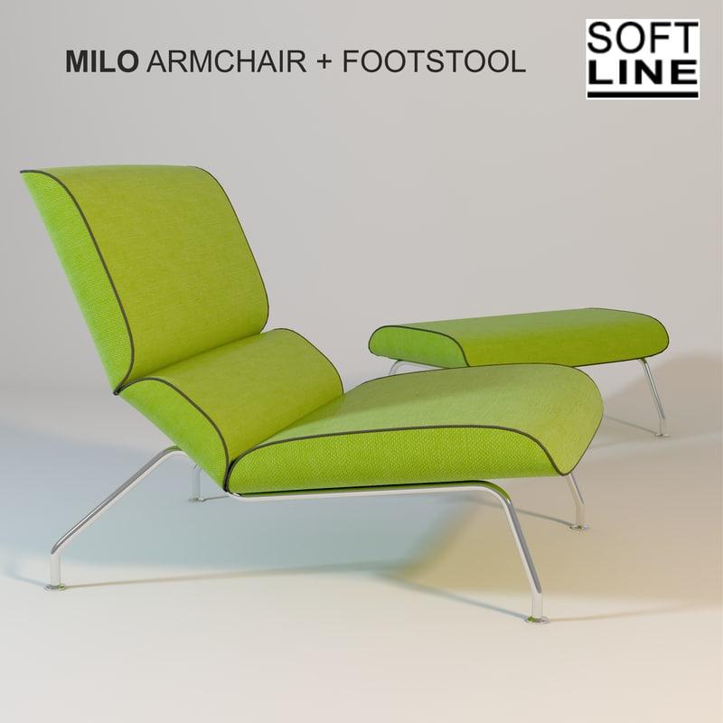 softline milo armchair footstool 3d model