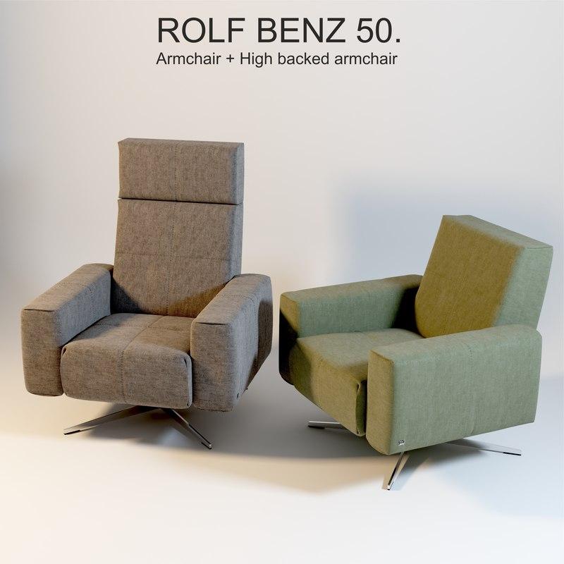 rolf benz 50 armchair 3d max. Black Bedroom Furniture Sets. Home Design Ideas