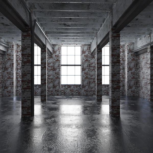 base loft interior scene 3d model