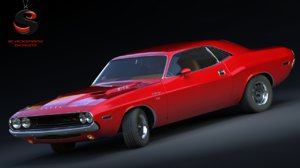 3d dodge challenger rt 1969 model
