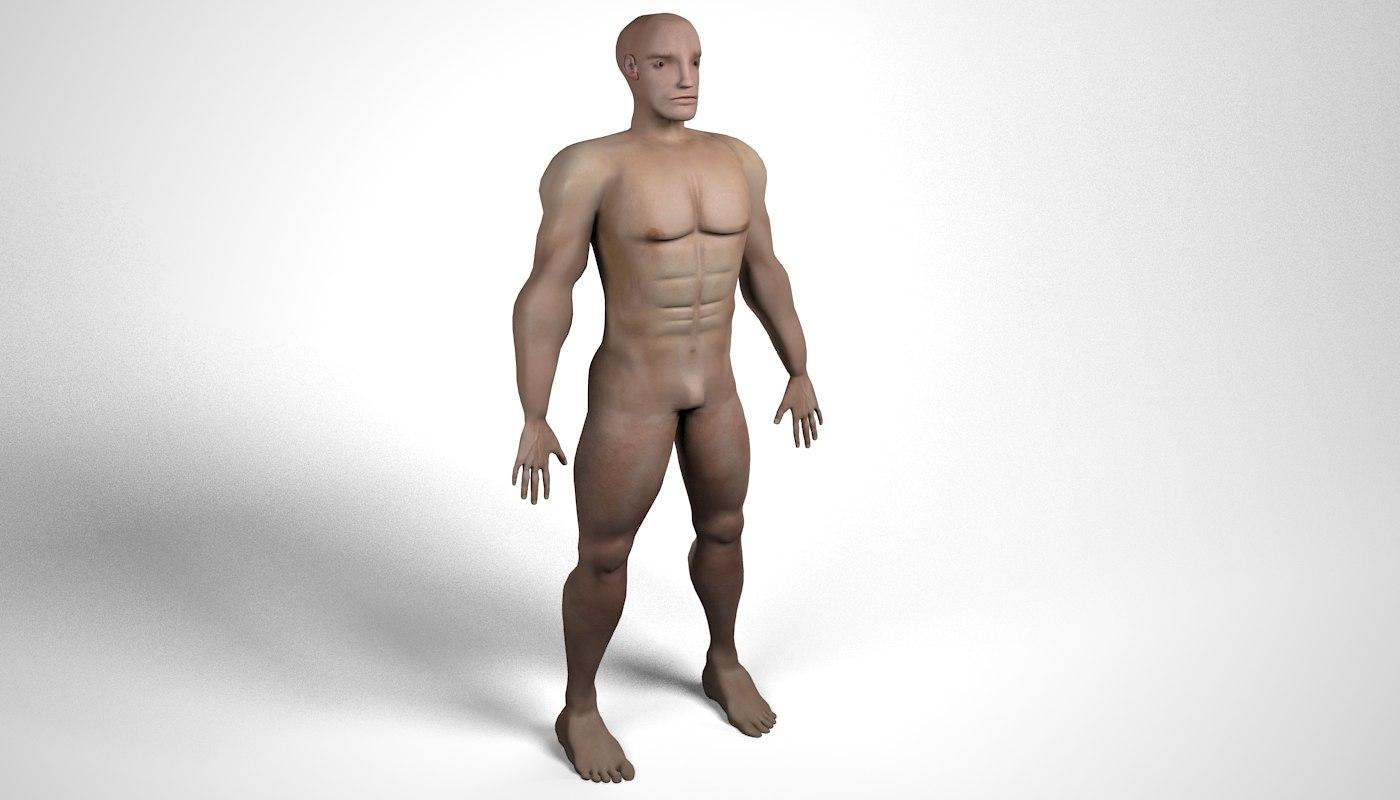 3ds max human character bold man