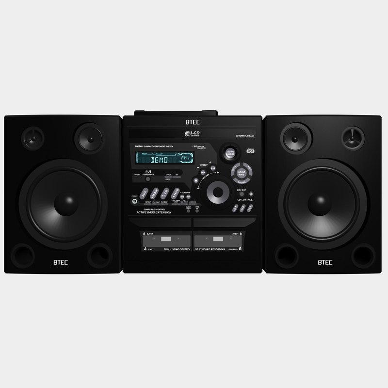stereo radio player 3d model