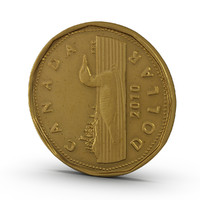3d realistic canadian dollar coin