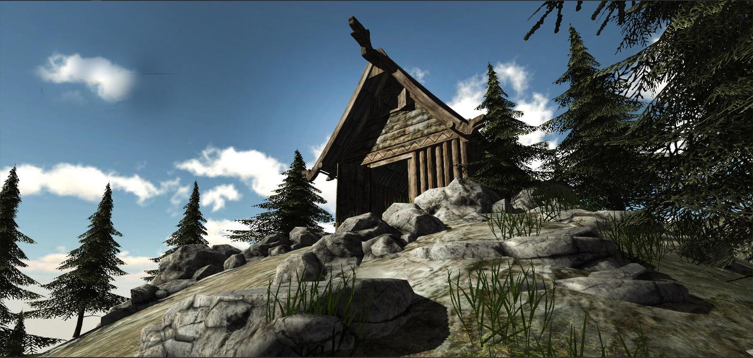 3d viking medieval village houses