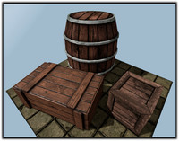 Low poly wooden storage assets (barrel/box/big box)(including LOD)