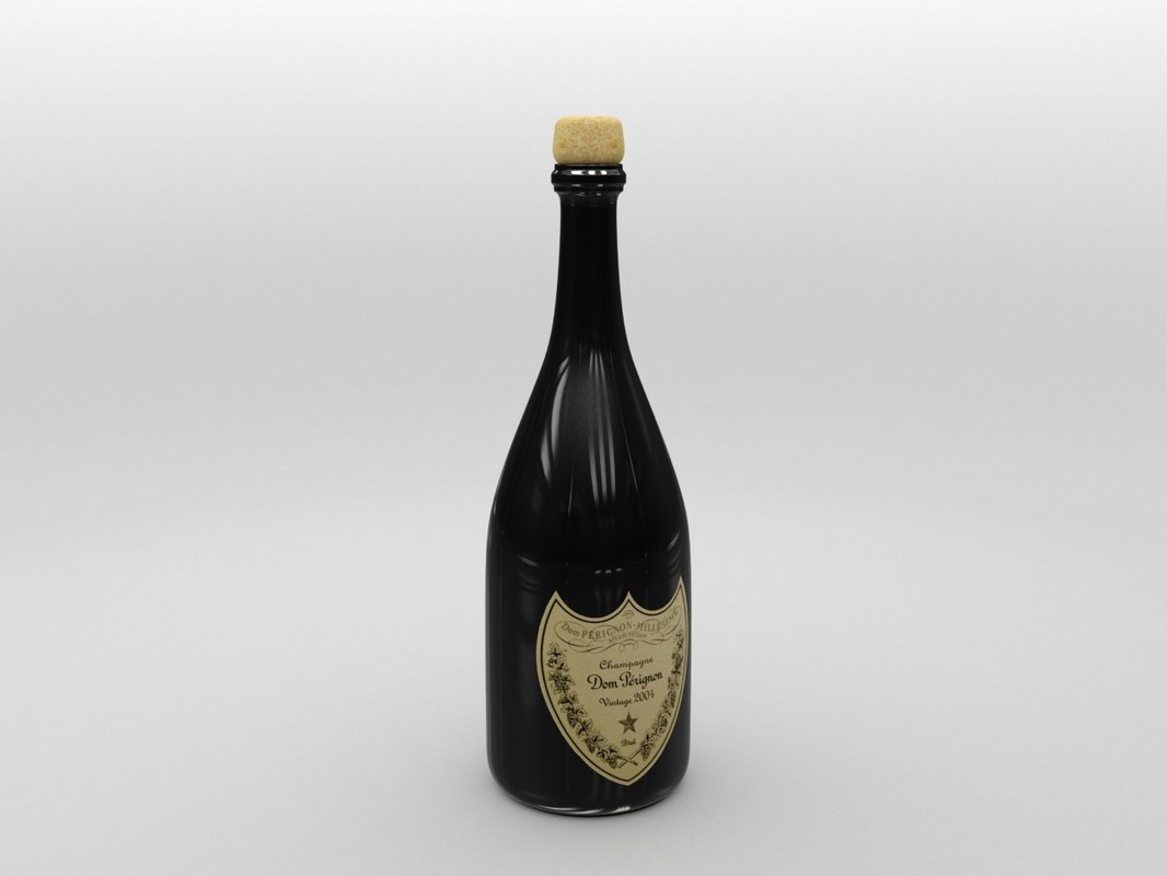 dom pérignon champagne bottle 3d model