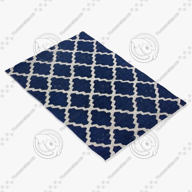 3d max blue morrocan rug