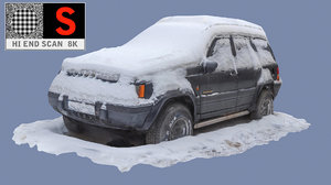 old car snow 3d model