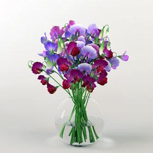 bouquet sweet peas 3d max