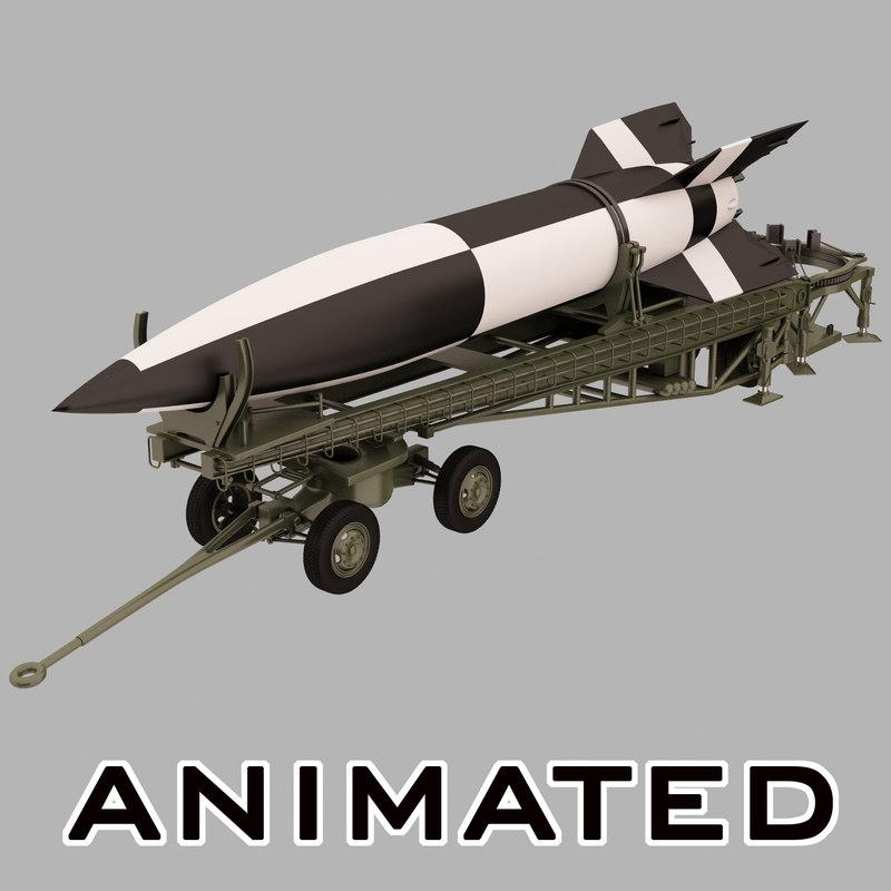 ballistic missile v-2 launcher 3d 3ds