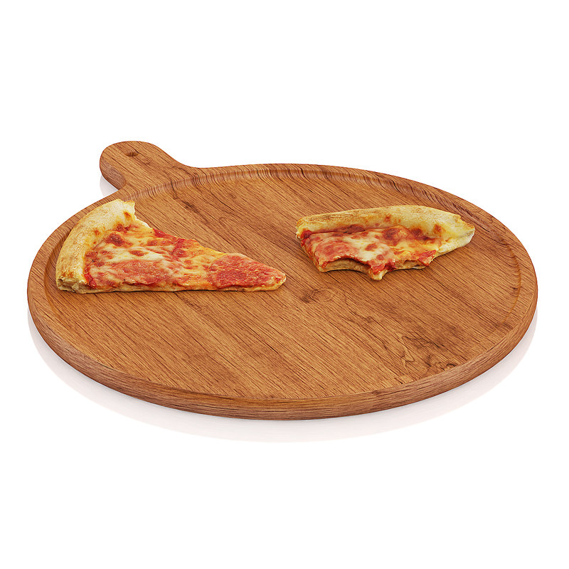 scanned slices pizza wooden board 3d max