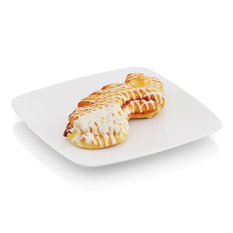 baked roll jam 3d model