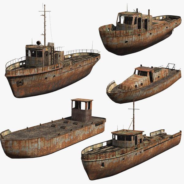 3d set rusty boats
