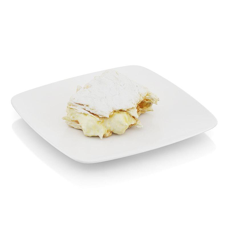 obj half-eaten piece cream pie