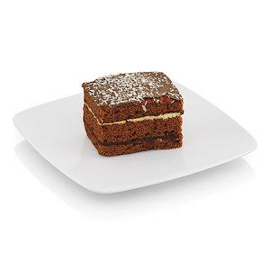 3d piece chocolate cake model
