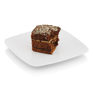 3d half-eaten piece chocolate cake model