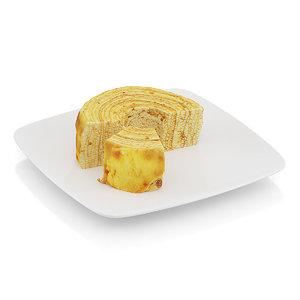half-eaten tree cake 3d max