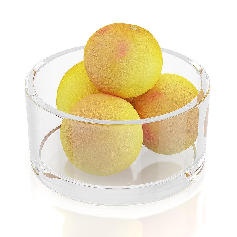 3d grapefruits glass bowl