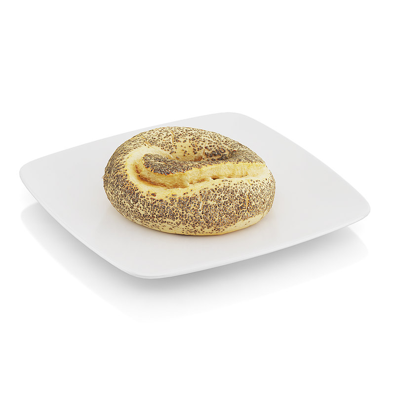 3d model bagel poppy seeds