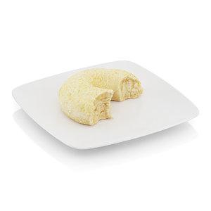 3d bitten bagel sesame seeds model