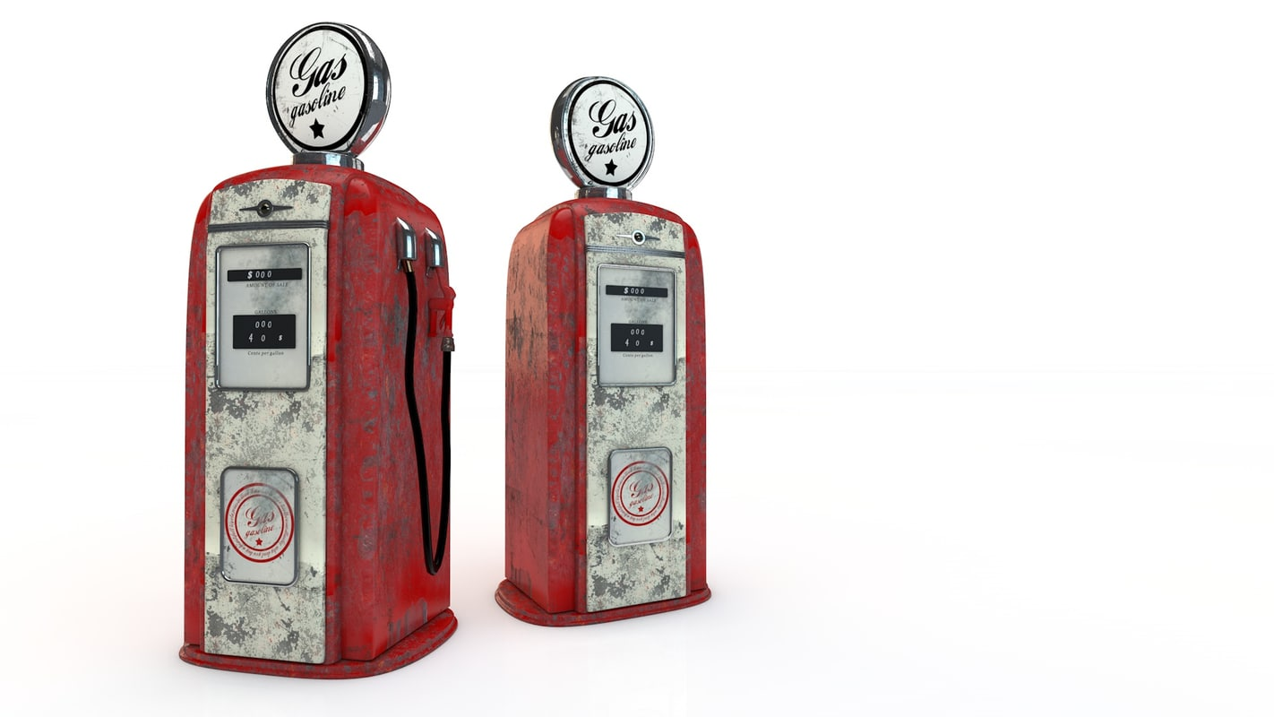 vintage gas pump 3d 3ds