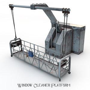 3d model window cleaner platform