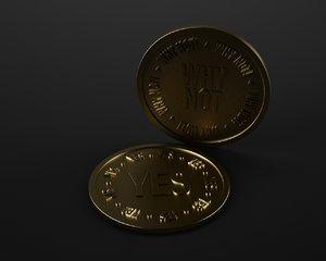 3d gold silver coin