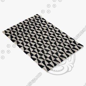 black white rug 3d 3ds
