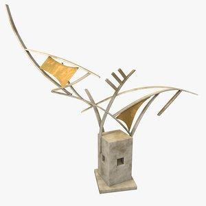 3d model modern art metal