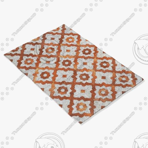 trc cowhide morrocco rug 3d model