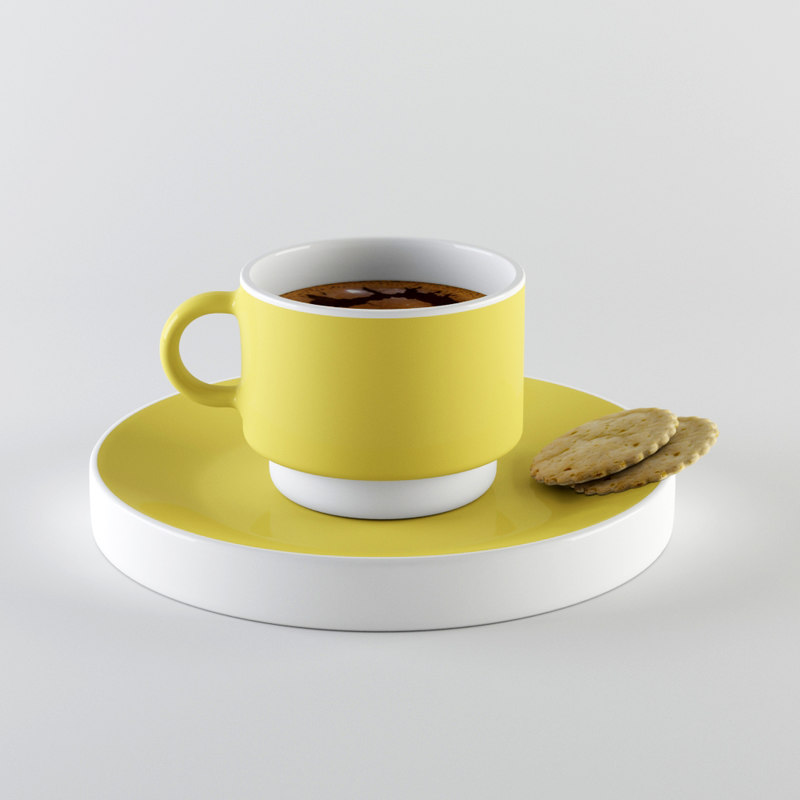 cup cookie coffee 3d 3ds