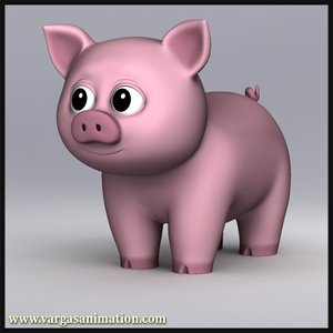 3d res cute cartoon pig